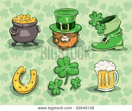 St. Patrick's day symbols - vector set isolated on shamrock background