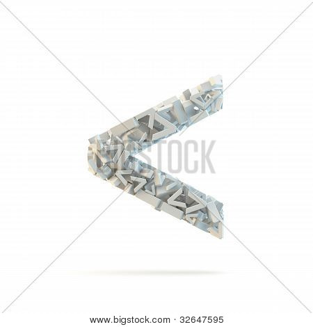 White Strict Inequality Mark Isolated On White.