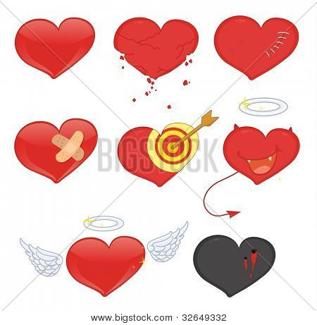 Illustrated set of heart objects - EPS VECTOR format also available in my portfolio.
