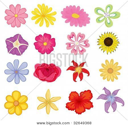 Illustrated set of colorful flower objects - EPS VECTOR format also available in my portfolio.
