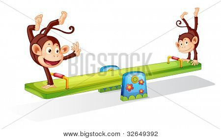 Monkeys planying on a seesaw - EPS VECTOR format also available in my portfolio.