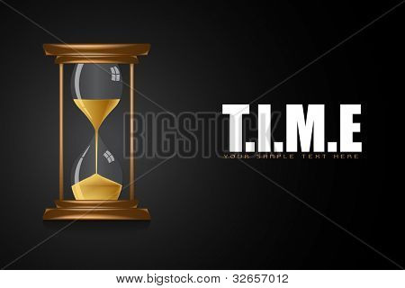 illustration of hourglass showing time on motivational time background