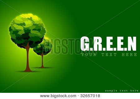 illustration of tree in motivational green concept background