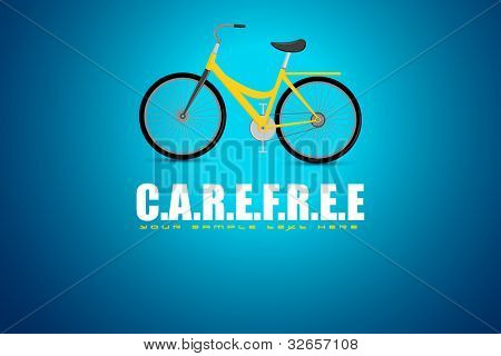 illustration of bicycle in motivational carefree background