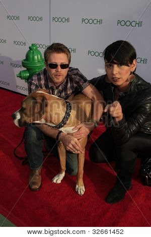 LOS ANGELES, CA - MAY 3: Kaj-Erik Eriksen, Claudia Dolph, dog Hazel at the grand opening of the Pooch Hotel on May 3, 2012 in Hollywood, Los Angeles, California.