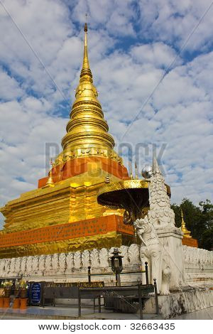 Golden stupa or jedi Thai style
