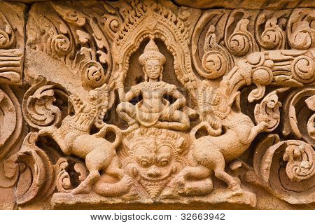 Ancient mural in Phanom Rung historical park in thailand.
