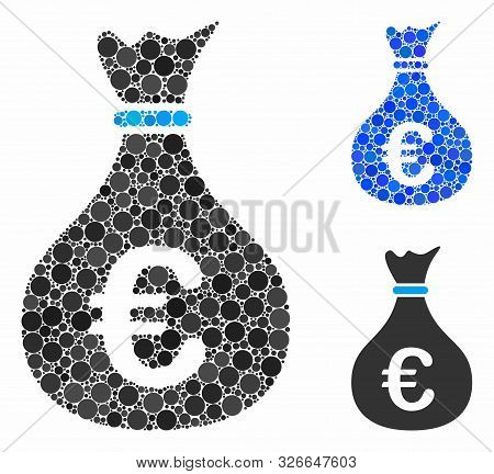 Invest Composition For Invest Icon Of Round Dots In Variable Sizes And Color Tinges. Vector Round Do poster