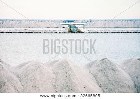 Piles of crystallised salt at a saline refinery
