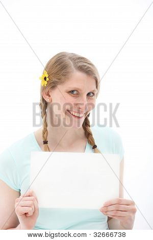 Pretty Smiling Blonde With Blank Paper