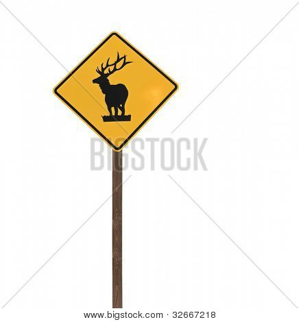 Tall isolated elk caution sign wooden post.