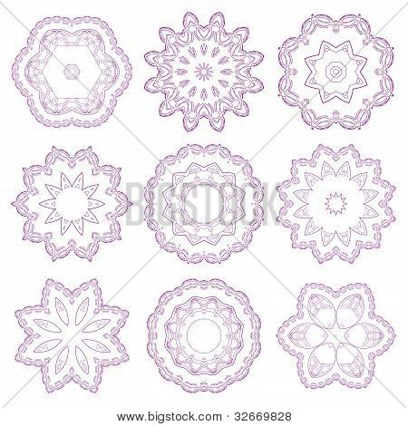 Set of decorative rosettes