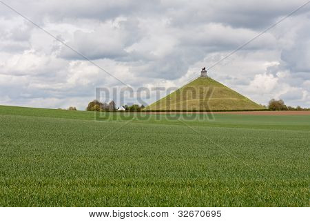 Statue Lion's Mound At Battlefield Of Waterloo, Belgium