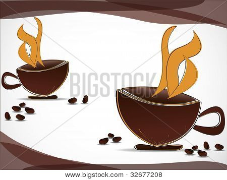 Coffee Cups And Coffee Beans