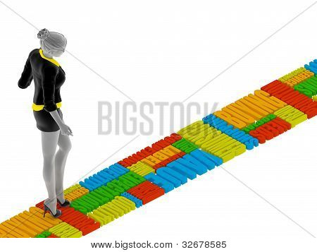 3d people woman walking on the words
