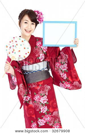 Beautiful kimono woman. Portrait of asian woman.