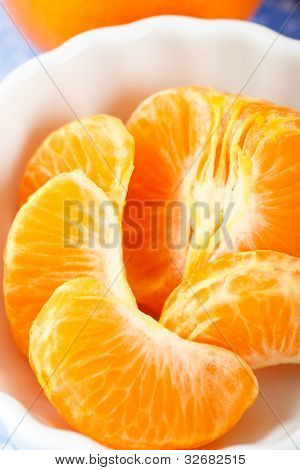 Mandarin Orange Sections Close Up Overhead View