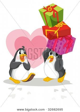 Romantic penguin giving gifts