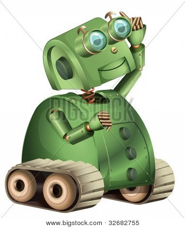 Illustration of an old style robot