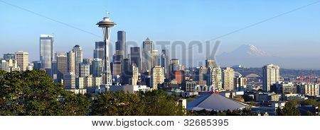 Seattle Skyline Panorama At Sunset.