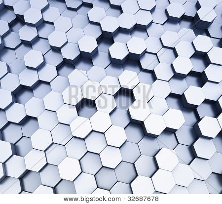 Abstract hexagonal cubes