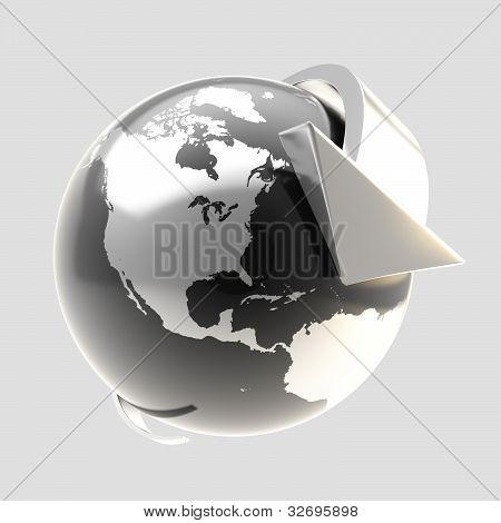 Earth globe symbol with arrow orbit