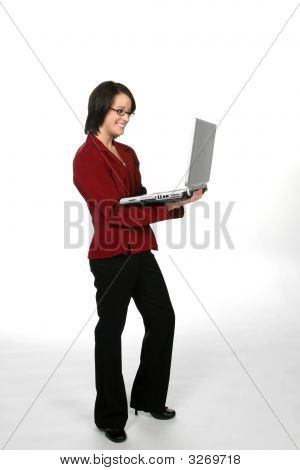 Teen In Red Business Jacket With A Laptop