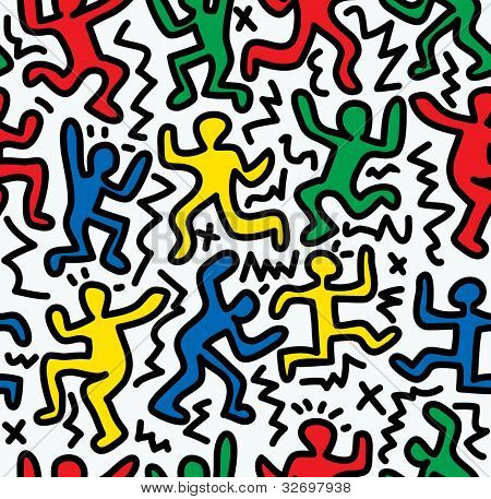 vector seamless repeating color wallpaper with dancing figures