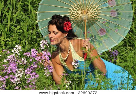 Retro Lady In With Spring Flowers