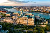 Budapest Hungary - skyline panorama of Budapest. The Danube the Parliament the Chain Bridge and the  poster