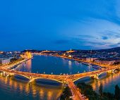 Budapest by night. Hungary - skyline panorama of Budapest in the night. The Danube the Parliament th poster