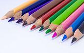 Crayons - Colored Pencil, Color Pencils, Close Up Macro Shot Of Color Pencil Pile Pencil Nibs, Used  poster