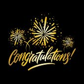 Congratulations Greeting Card, With Golden Fireworks And Black Background. Vector Illustration. poster