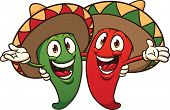 stock photo of sombrero  - Happy cartoon chili peppers wearing sombreros - JPG