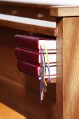 stock photo of pews  - Church bench and books - JPG