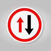 Two Way Traffic Sign,approaching Cars Have Right Of Way Sign Isolate On White Background,vector Illu poster