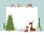 Christmas Background With Copy Space For Text Or Messages With Christmas Decorations Frame, Cute Fla poster