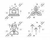 Support Consultant, Fair Trade And Best Manager Line Icons Set. Swipe Up Sign. Question Mark, Leaf,  poster
