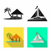 Vector Illustration Of Journey And Exotic Logo. Collection Of Journey And National Stock Symbol For  poster