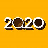 2020 Happy New Year Concept Decorative With A Cup Of Coffee. Graphic Design Element Can Be Used For  poster