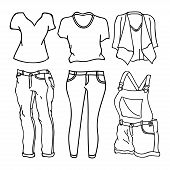 Collection Of Clothing Design Vector Outline Isolated White Background. Clothes Icon Isolated On Whi poster