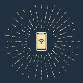 Beige Smartphone With Free Wi-fi Wireless Connection Icon Isolated On Dark Blue Background. Wireless poster