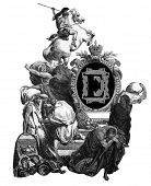 Luxurious Victorian initials letter E, after an engraving by Gustav Dore,