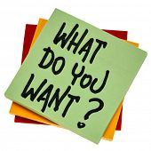 What do you want? Handwriting on an isoalted note. Personal development, aspiration and career conce poster