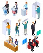 People Election Isometric. Politic Voting Booth Political Debate Voters Debating Candidate Decision  poster