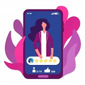 Five Stars Rating. Woman Have High Rating Online App Vector Concept. Illustration Feedback Five Star poster