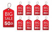 Discount Sale Off Tag 50, 20, 10, 40, 30, 60, 70, 80, 90 Percent.set Label Sale Offer, Badge Price P poster
