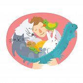 Pet Insurance Logo. Man Hugging Domestic Animals. Pet Care, Veterinary Banner, Background, Poster, C poster
