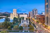 Salt Lake City, Utah, USA downtown cityscape over Temple Square at dusk. poster