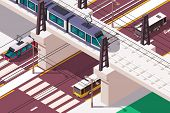 3d Isometric Urban Railway Bridge Over Road In City. Concept Rail Vehicle Moving On The Railway Brid poster